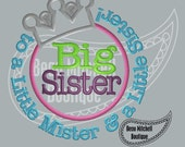 Big Sister to a little mister & a little sister applique embroidery design