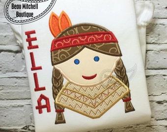 Indian girl applique embroidery design