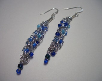 Silver earrings, dangle, blue, delicate, silver earrings, royal blue, made in Canada, light weight, elegant, sparkling, knitted jewelery
