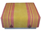 Ottoman Coffee Table Upholstered with Antique Wool Horse Blanket