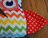 Chevron Owl Plush with Polka Dot Wings