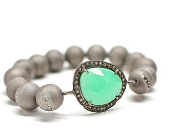 SALE Bright Green Bracelet Genuine Diamond Bracelet Jasper Bangle Stretch Bracelet Gemstone Bangle Fine Jewelry Gift For Her Luxury Drusy