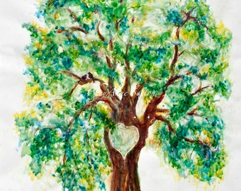 OVERSIZED Wall Art Heart Tree ORIGINAL WaterColor Love-birds Initials Big HUGH art one-of-a-kind 31x43 ins Wedding planner idea marry me