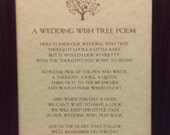 Wedding Wish Tree Sign, Wishing Tree Guest Book Sign, Wedding Wish Tree Instruction Sign / Wish Tree Poem - Vintage Style