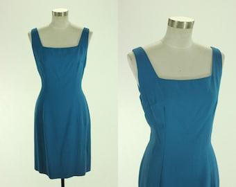 1960's Royal Blue Cocktail Dress M L Rayon Crepe