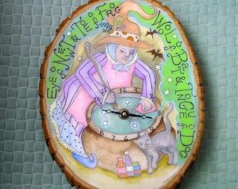 BLACK FRIDAY SALE! Enchanted Kitchen Witch Pagan Fairytale Halloween Handmade Folk Art ooak Clock!