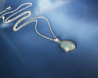 Aquamarine necklace. Sterling silver. Natural stone