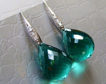 Large Green Amethyst Earrings Pave Sterling Silver - February Birthstone
