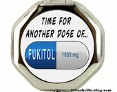 Funny FUKITOL Metal Pill Medication Case - Mini Stash Box Great for Pills, Capsules, Medicine and other Stashable Stuff