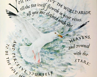 Vintage Card with Sea Gull and Inspirational Quote by Thomas Traherne, Watercolor and Calligraphy Marie Angel