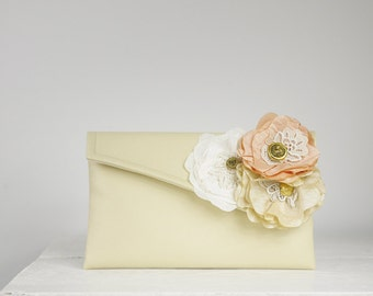 Shabby Chic Bridesmaid Clutch, Personalized Bridesmaid Gift Idea