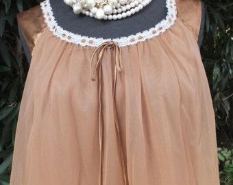 Pretty Chiffon Nightgown Van Raalte Nightie / Petite / Brown Chiffon