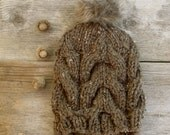 Women's Slouchy, Chunky, Cable Knit Hat in Barley Brown Tweed with Brown Faux Fur Pom Pom
