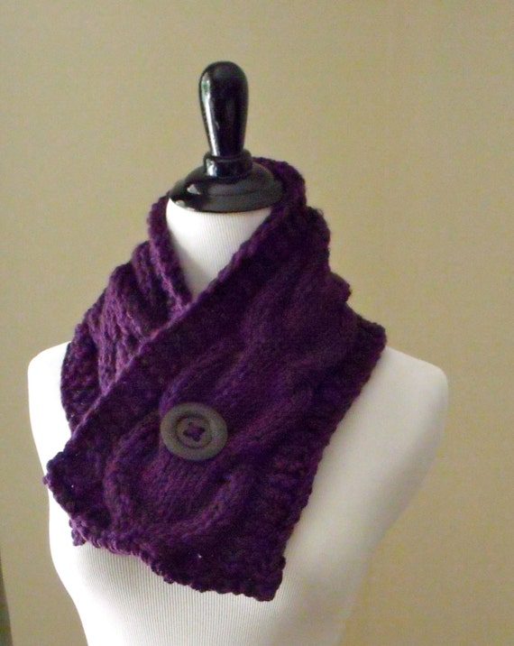 Cable Knit Scarf Pattern Beginner : Womens Short Cable Knit Scarf Knitting Pattern, Knitting Pattern, Patter...