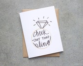 Greeting Card, Engagement Card, Check Out that Bling, Just Engaged, Card for Engagement Party, Future Mr and Mrs, Engagement Ring Card