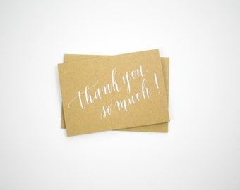 set of 6 white foil and kraft thank you notes