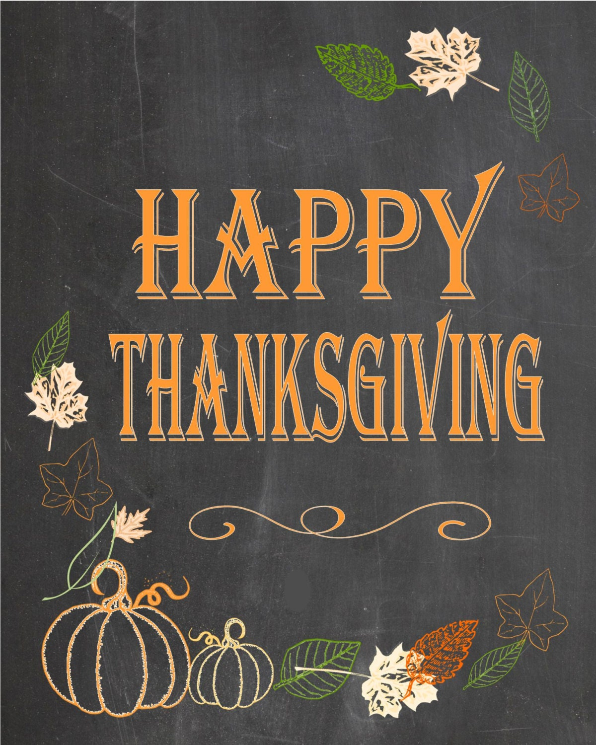 Happy Thanksgiving Chalkboard Poster Sign Yard Sign