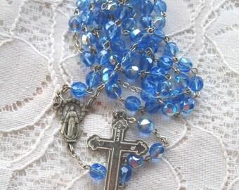 Vintage Rosary........Blue Crystal AB Beads