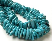 "Turquoise Beads - Blue Turquoise Beads - Flat Slice Irregular Chip Nugget - Howlite Gemstone Beads  - 7"" Strand - Beads for Jewelry Making"