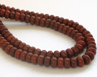 """Brown Rondelle Beads - Howlite Turquoise Beads - Smooth Gemstone Rondel - Center Drilled - 8mm x5mm - 16"""" Strand - DIY Jewelry Making"""