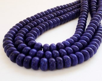 "Blue Rondelle Beads - Blue Purplish Magnesite Roundelle Beads - Smooth Gemstone Drilled Beads - 8mm x5mm - 16"" Strand - DIY Jewelry Project"