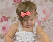 Coral Baby Bow Headband, Dark Peach Headband, Baby Headband, Coral Basic Bow Headband, Coral Hair Bow, Newborn Headband, Photo Prop