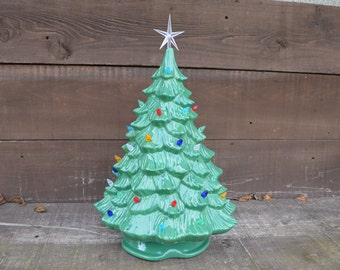 Vintage Style Ceramic Christmas Tree with Lights - Handpainted Dark Wintergreen - Extra Large