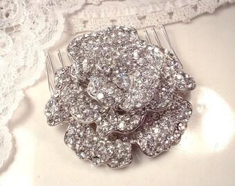 Wedding Hair Comb, Rhinestone Flower Bridal Headpiece,  Garden, Romantic Wedding Hair Accessory, Vintage Inspired Rose
