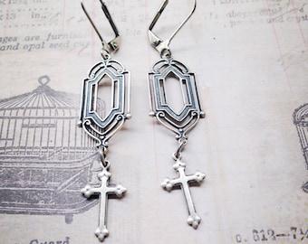 Cross Antique Silver Ox Art Deco Earrings