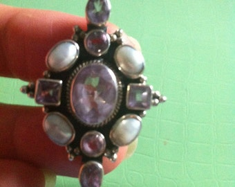 Sale Vintage Silver, Amethyst and Freshwater Pearl Statement Ring Made in India
