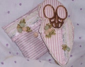 Pink Stripes and Roses Scissors Case and Pincushion