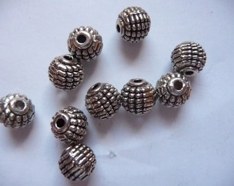 Bead, Antiqued, Silver Finished, Pewter, Zinc Based Alloy, 8x9mm, Melon, Pkg Of 10