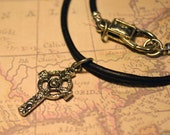 Free Shipping, Leather Necklace, Celtic Cross, Mens Necklace, Mens Jewelry, Mens Gift, Pendant, Distresed Cord