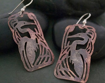 Copper and Sterling Silver Heron Earrings, Bird Earrings, Jewelry By Naomi