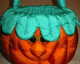 vintage parachute nylon halloween pumpkin . . . trick or treat basket . . . like new condition
