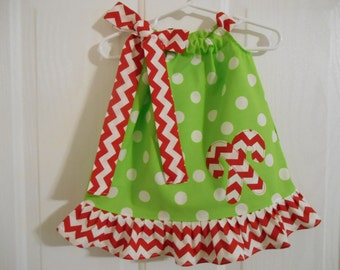 25 % off Girls Christmas pillowcase  lime green white dots with ruffle candy cane applique infant thru size 8