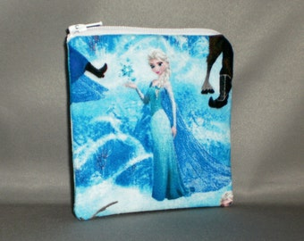 Frozen - Coin Purse - Small Padded Zippered Pouch - Mini Wallet - Elsa, Anna, Olaf