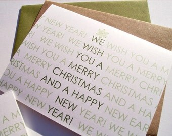 Holiday Card Set - Typography Christmas Cards, Modern Greeting Cards, Christmas Tree Typography, Merry Christmas Happy New Year, Green White