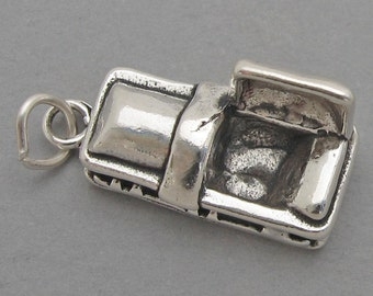 Sterling Silver 925 Charm Pendant 3D COFFIN Casket Mortician Halloween 3433