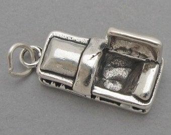Sterling Silver 925 Charm Pendant 3D COFFIN Casket Mortician Halloween