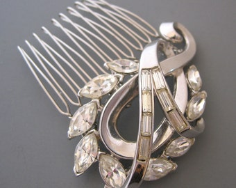 Swirls of Love - Vintage Silver and Crystal Bridal Hair Comb - 1940s Paisley Design - OOAK Repurposed Wedding Accessory