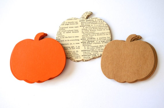 Harvest Pumpkin Shape Cutouts, 30 pieces of vintage book, harvest orange or kraft brown paper