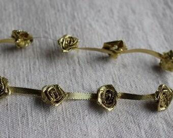 metallic GOLD ribbon rosette flower trim