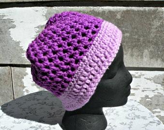 Slouch Hat, Adult/Teen, Lightweight, Purple & Lilac, Crochet, Indoor Or Outdoor