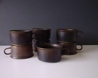 Arabia Finland Ruska Mid Century Pottery Cups