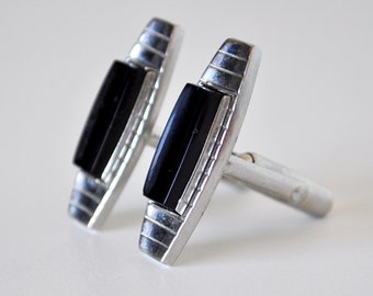 Vintage Silver and Black Cufflinks Anson