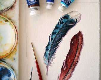Blue Jay and Cardinal feather study - Original watercolor