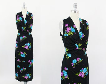 70s dress - floral black 70s maxi dress - vintage 70s party dress - medium