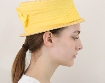straw hat - vintage boater hat - 50s 60s hat - yellow straw hat - chiffon banded hat