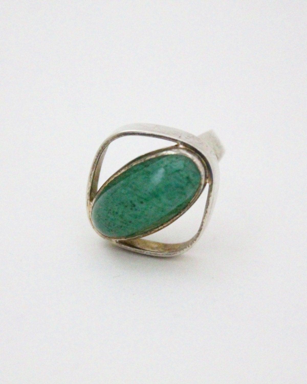 jade ring 60s modernist ring sterling silver jade ring